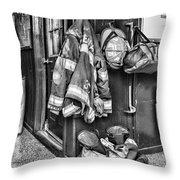 Fireman - Always Ready - Black And White Throw Pillow