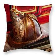 Fireman - Hat - Commander  Throw Pillow