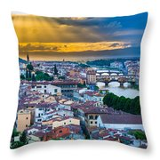 Firenze Sunset Throw Pillow by Inge Johnsson