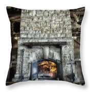 Fireplace At The Lodge Vertical Throw Pillow