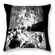 Fireplace Black And White Throw Pillow