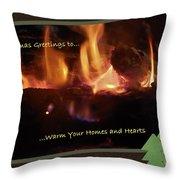 Fireside Christmas Greeting Throw Pillow