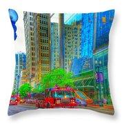 Firetruck In Chicago Throw Pillow