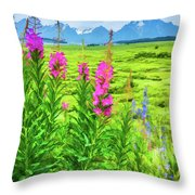 Fireweed In The Foreground 2 Throw Pillow
