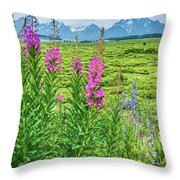 Fireweed In The Foreground Throw Pillow