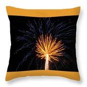 Firework Blue And Gold Throw Pillow