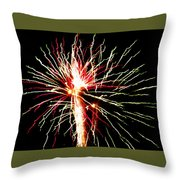 Firework Pink And Green Streaks Throw Pillow