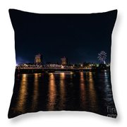 Fireworks And The Blue Bridge Throw Pillow