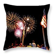 Fireworks And The Flag Throw Pillow