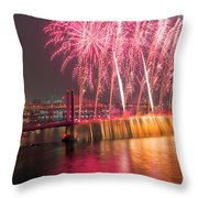 Fireworks And Waterfall Throw Pillow