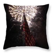 Fireworks Behind American Flag Throw Pillow