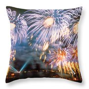 Fireworks Blue Throw Pillow