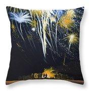 Fireworks Bonfire On The West Bar Throw Pillow