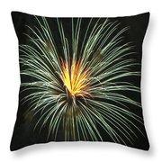 Fireworks Green Flower  Throw Pillow