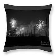 Fireworks In Black And White Throw Pillow
