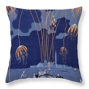 Fireworks In Venice Throw Pillow by Georges Barbier