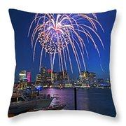 Fireworks Over The Boston Skyline Boston Harbor Illumination Streaming Down Throw Pillow