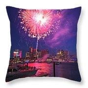 Fireworks Over The Boston Skyline Boston Harbor Illumination Throw Pillow