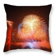 Fireworks Over The Golden Gate Bridge Throw Pillow