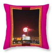 Fireworks Over The Las Vegas Strip Throw Pillow