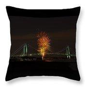Fireworks Over The Verrazano Narrows Bridge Throw Pillow