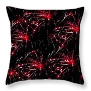 Fireworks - Red Bursts Throw Pillow