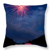 Fireworks Show In The Mountains Throw Pillow