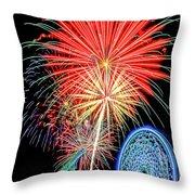 Fireworks-wildwood Nj Boardwalk Throw Pillow