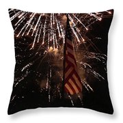 Fireworks With Flag Throw Pillow by Alan Look