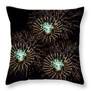 Fireworks - Yellow Spirals Throw Pillow