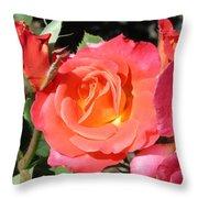 Firey Passion Rose Throw Pillow