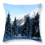 Firs In The Snow Throw Pillow