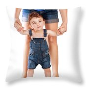 First Baby Steps Throw Pillow