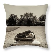 First Base In Sepia Throw Pillow