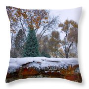 First Colorful Autumn Snow Throw Pillow