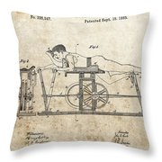 First Exercise Machine Patent Throw Pillow
