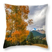 First Fall Colors In Rocky Mountain National Park Throw Pillow