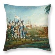 First Landing Of Christopher Columbus Throw Pillow