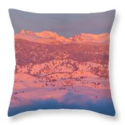 First Light Colorado Rocky Mountains Panorama Throw Pillow