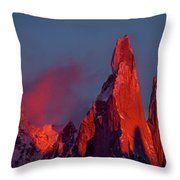 First Light On Cerro Torre - Patagonia Throw Pillow