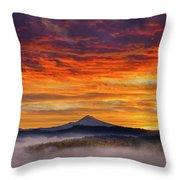 First Light On Mount Hood During Sunrise Throw Pillow