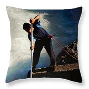 First Nation Fisherman Throw Pillow