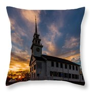 First Parish Church In Milton Massachusetts Sunset Throw Pillow
