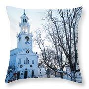 First Parish Church Manchester Ma North Winter Snow Throw Pillow