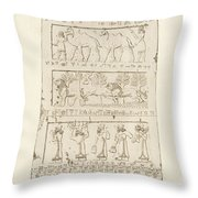 First Side Of Obelisk, Illustration From Monuments Of Nineveh Throw Pillow