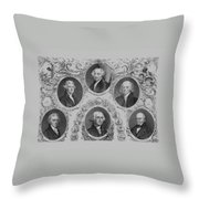 First Six U.s. Presidents Throw Pillow