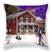 First Snow At The South Woodstock Country Store Throw Pillow