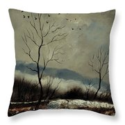 First Snow In Harroy Throw Pillow