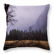 First Snow In Yosemite Valley Throw Pillow by Priya Ghose