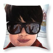 First Snow - Self-portrait In Oil Throw Pillow